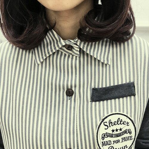 襯衫 - 學院風拼接設計貼布直條襯衫【29145】藍色巴黎《2色》現貨 + 預購 2
