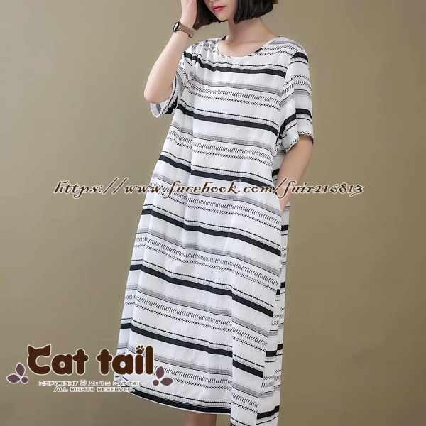《貓尾巴》CH-01946韓版休閒條紋寬鬆短袖連身裙(森林系日系棉麻文青清新)