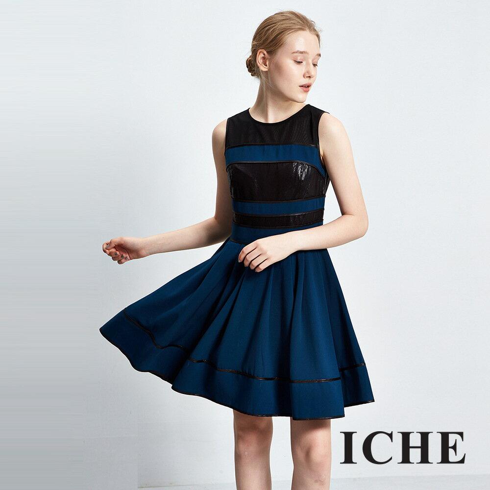 ICHE 衣哲簡約拼接傘擺造型洋裝