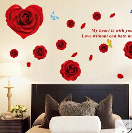 愛心紅玫瑰花朵臥室床頭浪漫貼畫客廳婚房婚慶室內裝飾牆貼~no~45533356110~