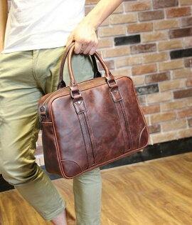 FINDSENSEZ1韓國時尚潮男皮質商務公事包單肩包手提包單肩包側背包斜背包