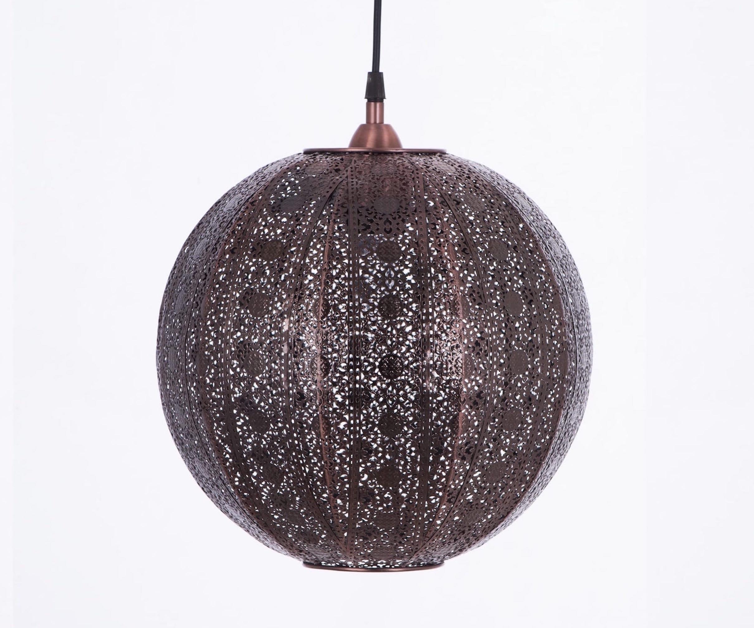 紅銅刷黑蕾絲花邊圓形吊燈-BNL00075 4