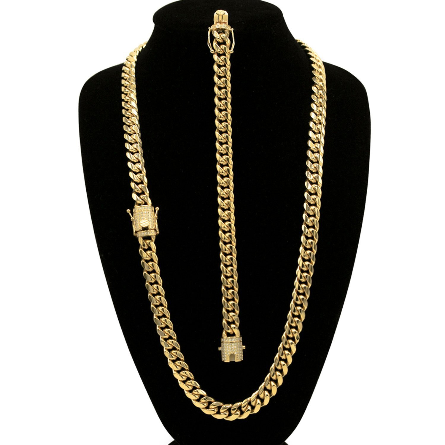 2880bdbe24332 Cuban Link Necklace Bracelet Set Gold Plated Cubic Zirconia Box Clasp Miami  Cuban Chain Stainless Steel Fashion Jewelry 10mm 12mm 14mm
