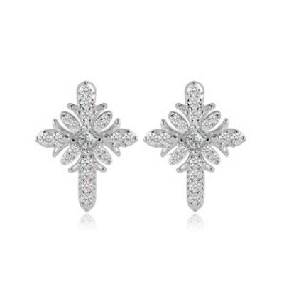 ~純銀耳環鍍白金鑲鑽耳飾~ 氣質耀眼 情人節生日 女飾品73cr120~ ~~米蘭 ~