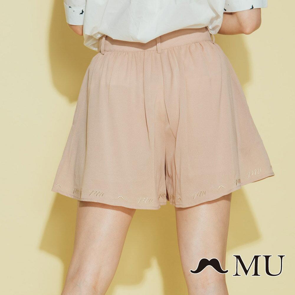 【MU】素面擺百搭低調刺繡短褲裙(2色)8325163 4