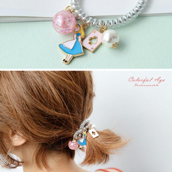 髮束 藍色愛麗絲電話線髮飾髮圈 大力丸 撲克牌 珍珠 韓國帶回 柒彩年代~NXA16~
