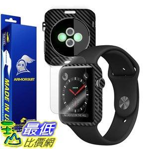 [107美國直購] 保護膜 Apple Watch 42mm (Series 3) Screen Protector + Black Carbon Fiber Skin Protector