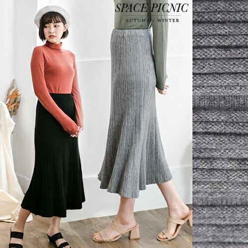 針織 長裙 Space Picnic| .超彈針織細坑條彈性長裙~C17111010~