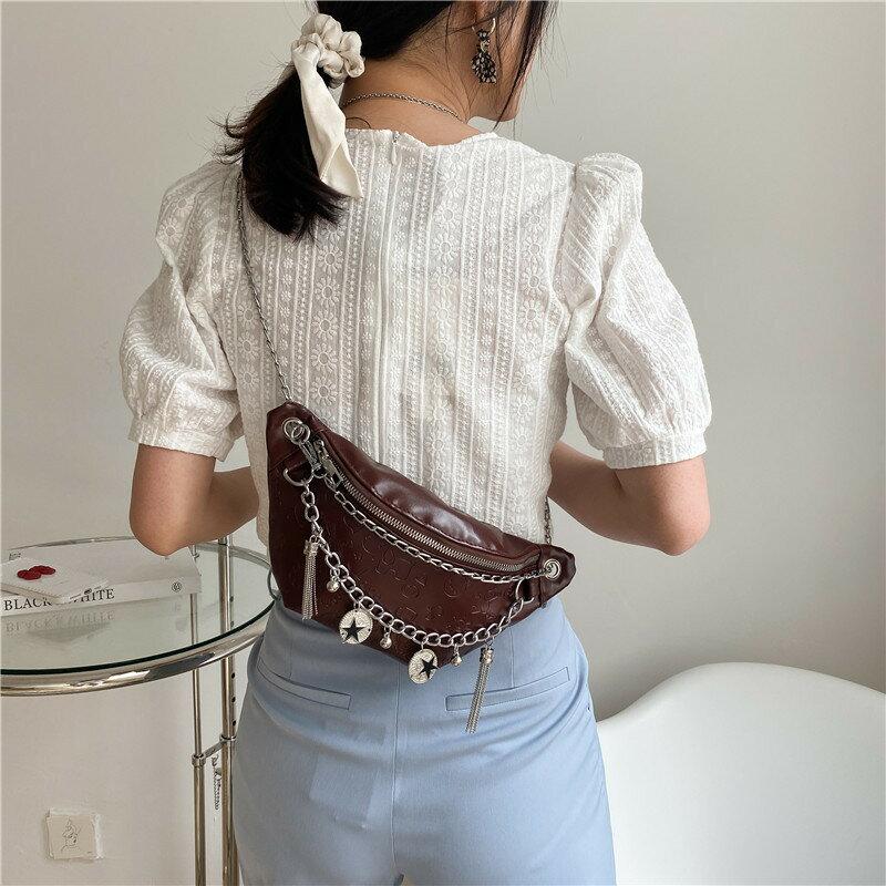 女士包包2021春季洋氣個性單肩包潮時尚韓版簡約壓花純色質感腰包
