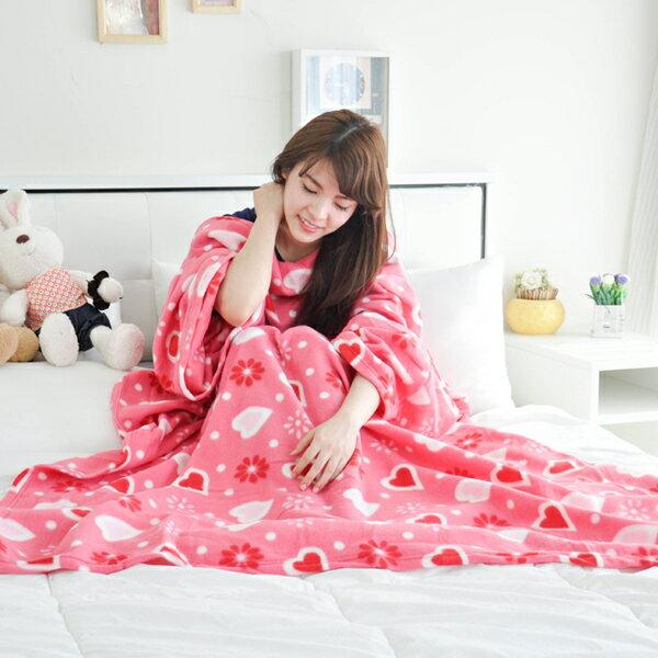 【粉紅愛心】 時尚加厚懶人袖毯 ◆台灣精製◆ HOUXURY寢具生活網繽紛紅點