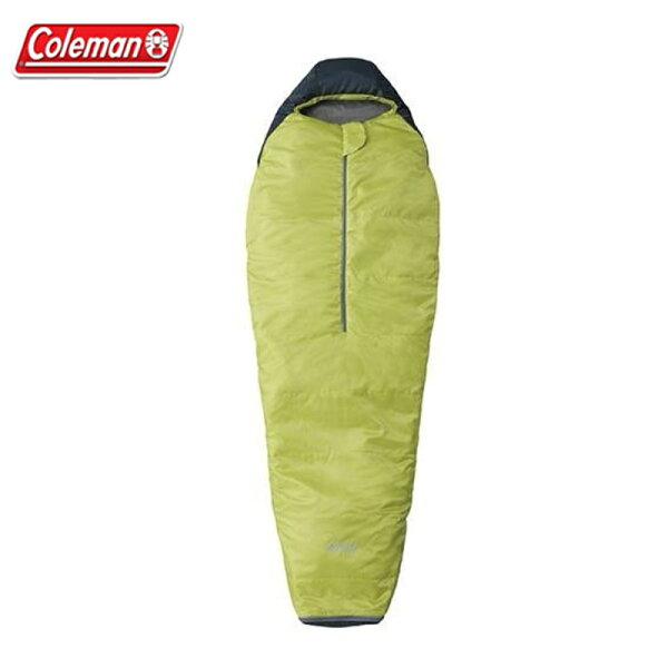【露營趣】ColemanCM-6931圓錐形萊姆綠睡袋C15木乃伊型睡袋纖維睡袋化纖睡袋露營睡袋保暖睡袋