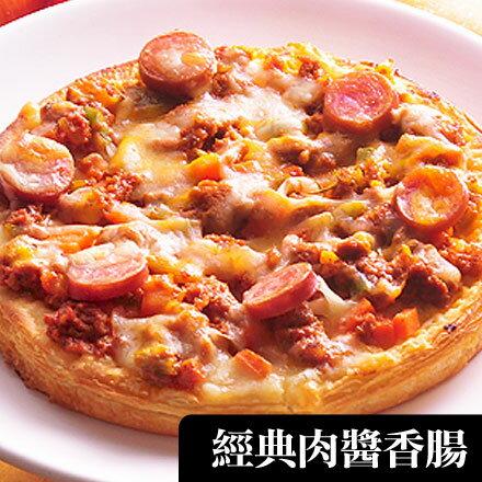 【不怕比較!網路PIZZA瑪莉屋口袋比薩最好吃】經典肉醬香腸披薩(厚皮)一入 0