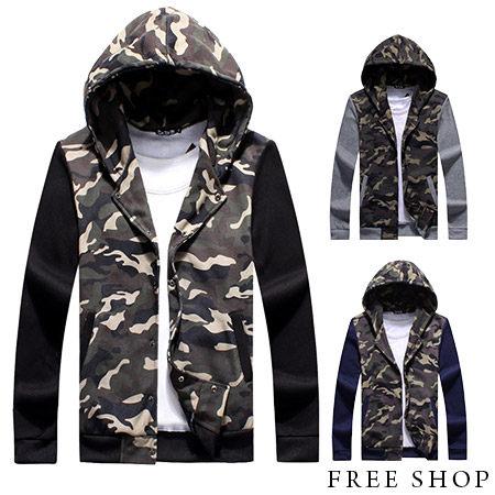 《全店399免運》Free Shop 【QMD30082】 潮流風格嚴選迷彩拼接設計保暖刷毛棉質連帽外套迷彩外套‧三色