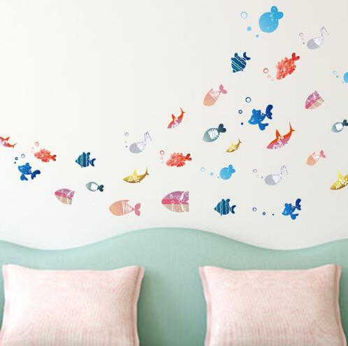 WallFree窩自在★DIY無痕壁貼/牆貼-XL2003-快樂小魚