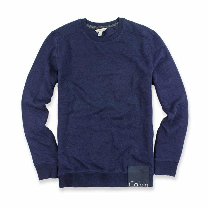美國百分百【全新真品】Calvin Klein 大學T CK 長袖 T恤 T-shirt logo 深藍 S號 I651