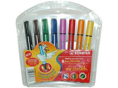 STABILO鵝牌 Trio Scribbi 八色三角桿彩色筆 (368-8) 筆頭可伸縮
