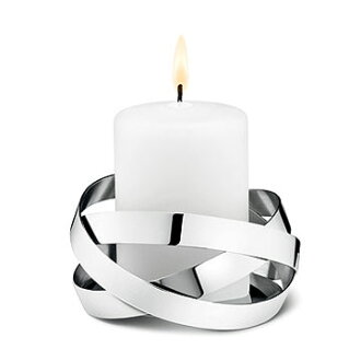 丹麥 Georg Jensen Ribbons Candleholder Small 銀色彩帶 燭台 小尺寸