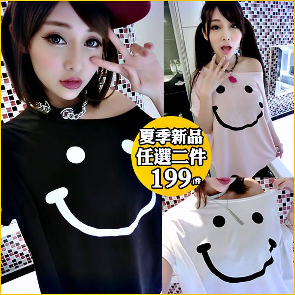 ☆克妹☆現貨+預購【AT45356】SMILL甜心微笑符號寬鬆大蝙蝠袖T恤洋裝