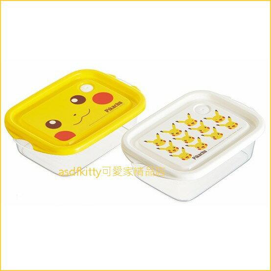 asdfkitty可愛家☆寶可夢神奇寶貝皮卡丘2入保鮮盒水果盒零食盒收納盒-日本製