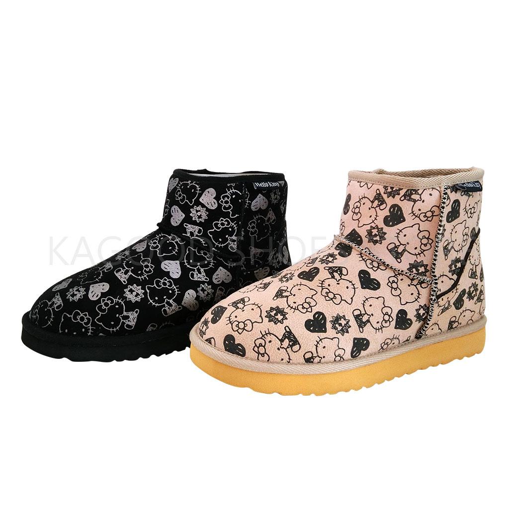 HELLO KITTY 凱蒂貓 915111 滿版 復古 塗鴉 中筒 雪靴 (米 /黑)