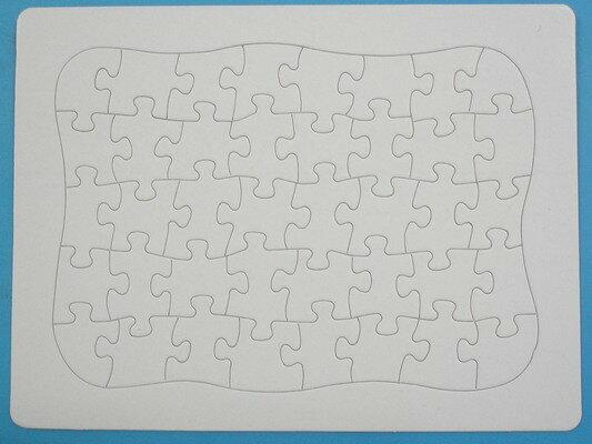 空白拼圖 彩繪拼圖 DIY拼圖(新弧形/小40片)27.5cm x 21cm/一袋5個入{定18}
