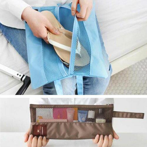~收納包~  2 way long pouch 折疊雙面收納旅行袋   鞋袋化妝包