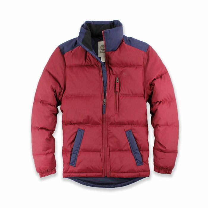 美國百分百【全新真品】Timberland 羽絨 外套 保暖防寒 夾克 立領 外衣 日版 男 暗紅深藍 XS號 H227
