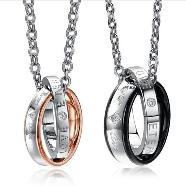 糖衣子輕鬆購【DZ0309】創意簡約鑲鑽撞色鈦鋼情侶項鍊對鍊飾品情人節禮物