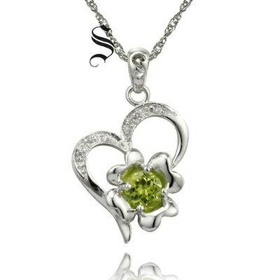 925純銀項鍊橄欖石吊墜~心型花朵 七夕情人節 女飾品73de42~ ~~米蘭 ~ ~