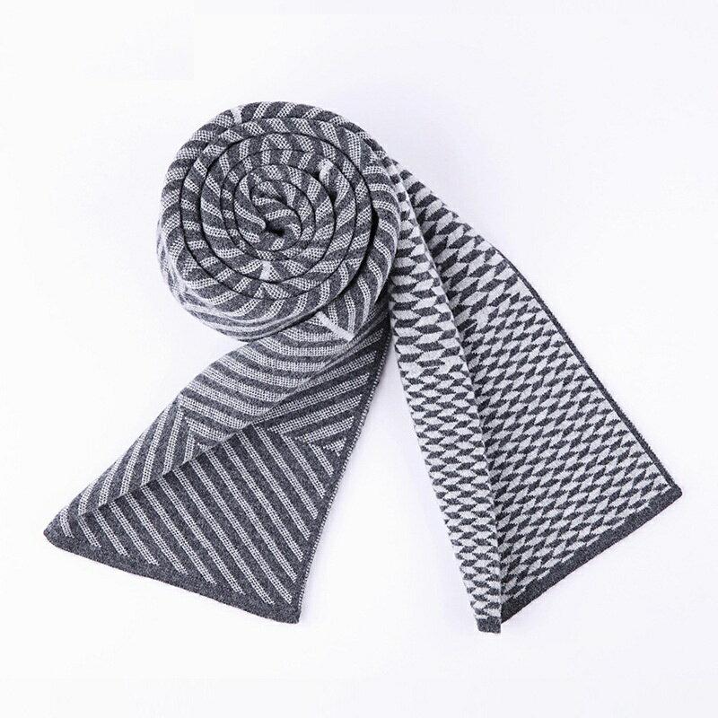 圍巾羊毛披肩-針織拼色幾何圖形男配件3色73wh70【獨家進口】【米蘭精品】