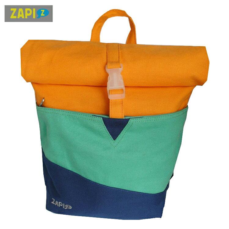 <br/><br/>  ZAPI-拼接色MOMO後背包-藍綠橙<br/><br/>