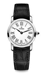 TITONI瑞士梅花錶纖薄系列TQ42918S-ST-584簡約金屬時尚腕錶/銀24mm