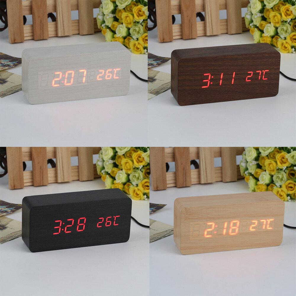 原木製鬧鐘溫度計USB充電大尺寸LED 大數字時鐘經典款LED木製時鐘