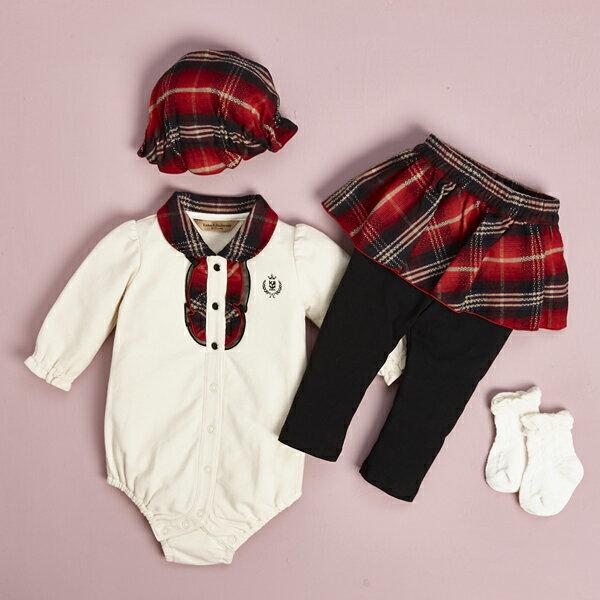 【金安德森】寶寶禮盒 - 網布花邊短兔裝+假兩件褲裙 (彌月禮盒)
