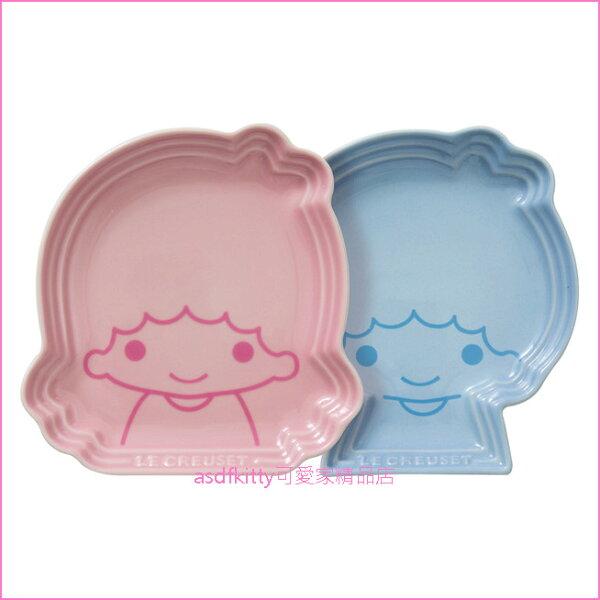 asdfkitty可愛家☆lecreusetxsanrio限量聯名雙子星2入造型陶瓷盤粉紅色+藍色-法國正版商