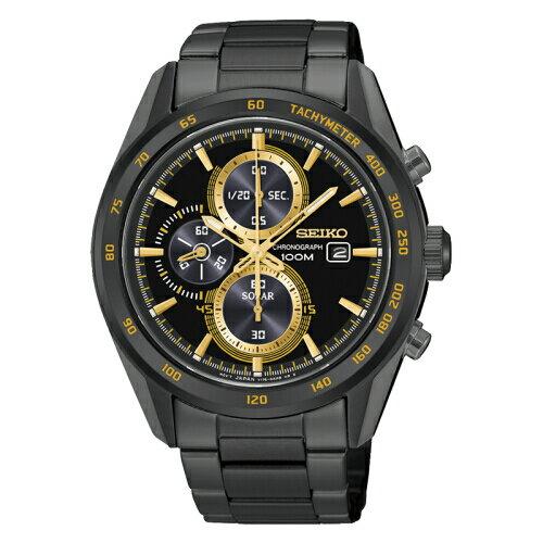 SEIKOCriteria三眼計時太陽能錶黑金x黑鋼SSC409P1(V176-0AL0K)