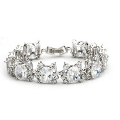 純銀手鍊 鍍白金鑲鑽手環 ~ 優雅高貴奢華生日情人節 女飾品73cv39~ ~~米蘭 ~