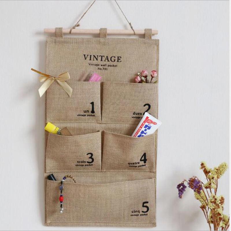 雯爾雅布藝掛式收納袋壁掛墻面雜物袋簡約多層儲物袋宿舍門后掛袋