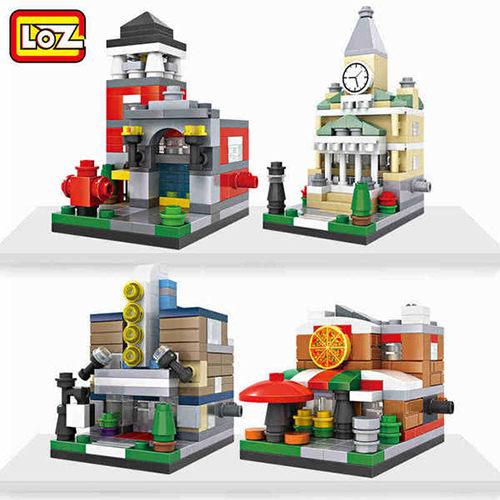 強尼拍賣^~LOZ 迷你鑽石小積木 商店系列 披薩店 消防局 電影院 樂高式 玩具 益智玩