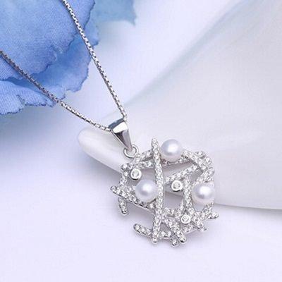 ★925純銀項鍊 珍珠墜飾-情人節禮物精美獨特鑲鑽女配件73w86【獨家進口】【米蘭精品】 1