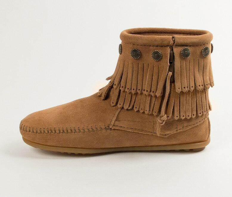 【Minnetonka 莫卡辛】土黃色 - 雙層麂皮流蘇踝靴 3