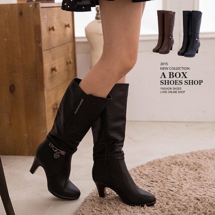 【KS5131】嚴選雜誌 時尚金屬吊飾內拉鍊高質感高跟馬汀長靴 機車靴 2色 - 限時優惠好康折扣
