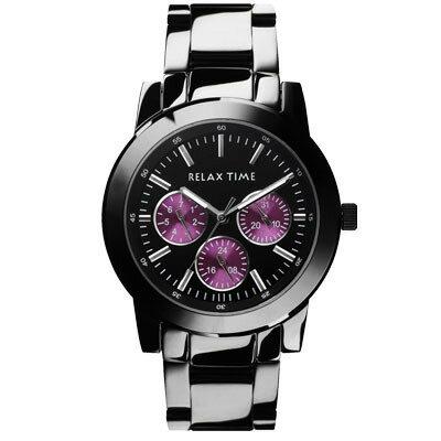 大高雄鐘錶城:RELAXTIME三眼黑x紫時尚腕錶(R0800-16-03)38mm