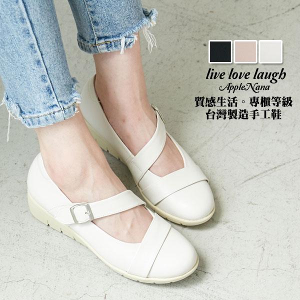 AppleNana蘋果奈奈【QC147151380】斜帶瑪莉珍巴蕾風氣墊楔型鞋 0
