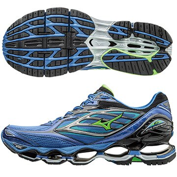 J1GC170041(藍X綠X銀)頂級鞋款 WAVE PROPHECY 6  男慢跑鞋 S【美津濃MIZUNO】