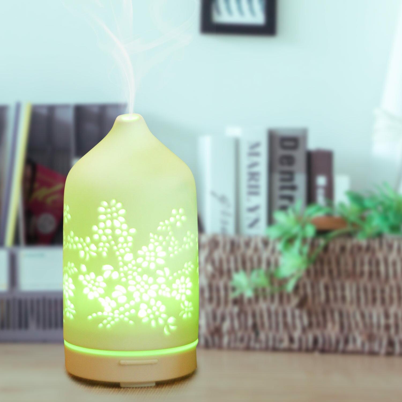 karoli卡蘿萊鏤雕白瓷E6 香氛水氧機送4罐10ml精油 陶瓷款 小夜燈