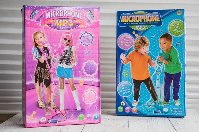 MP3 麥克風(雙人版) 男 女兩款 同歡麥克風 閃光隨身卡拉OK 玩具 麥克風【塔克】