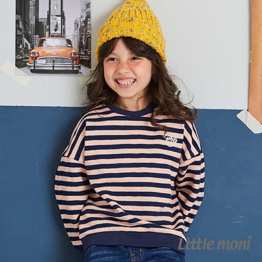 Little moni 條紋寬版上衣 -粉紅 1