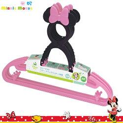 日本製 迪士尼 Disney 米妮 Minnie 造型立體頭 防滑衣架曬衣架一組3入日本進口正版  300420