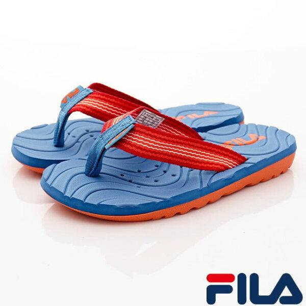 FILA兒童夾腳拖鞋運動涼拖鞋2-S434R-366藍桔[陽光樂活]